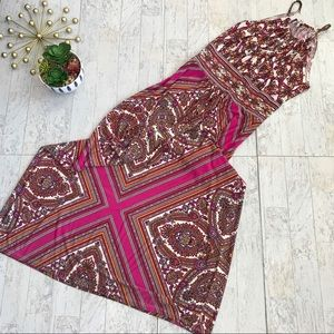 London Times pink keyhole halter maxi dress size 6